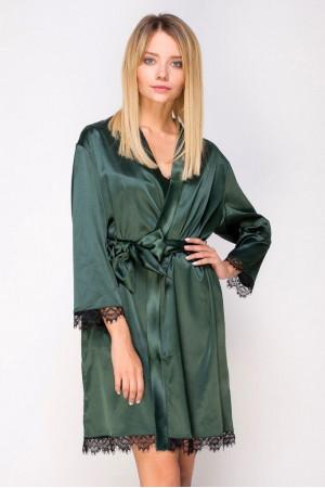Халат шелковый 471 зеленый/черный