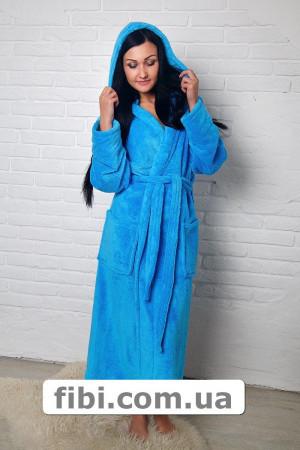 Халат махровый длинный голубой Арт. - 33305