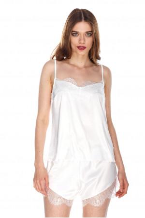 Пижама шелковая 135 ваниль майка и шорты