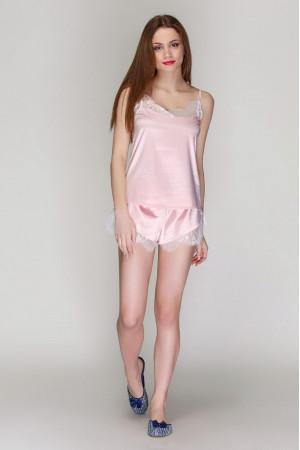 Пижама шелковая 2103 пудра майка и шорты