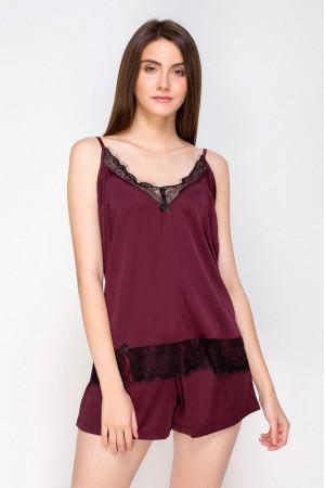 Пижама шелковая 213 черничный/черный майка и шорты