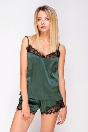 Пижама шелковая 2130 зеленый/черный майка и шорты