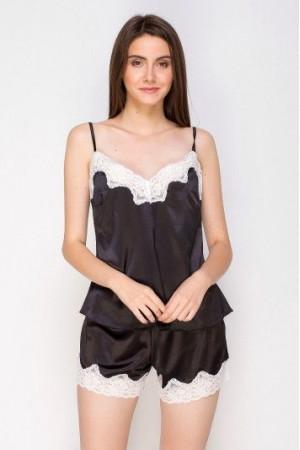 Пижама шелковая 218 черничный/шампань майка и шорты