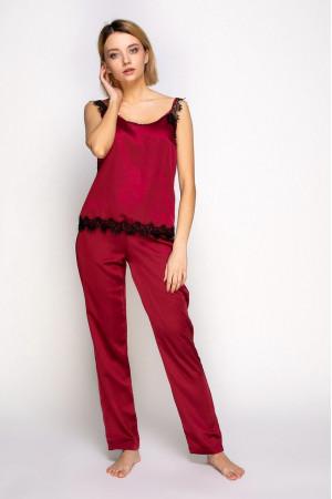Пижама шелковая 807 марсал/черный майка и штаны