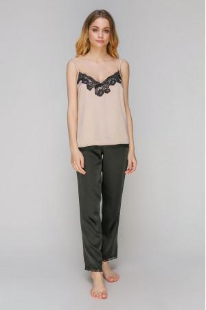 Пижама шелковая 924 черный/бежевый майка и штаны